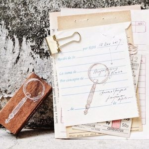 Magnifying Glass Rubber Stamp
