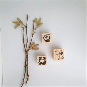 Krimgen Stamp #74 Chasing Bear – #78 Flowerbear – #81 Bear Ribbon