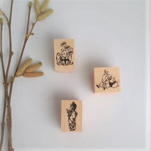 Krimgen Stamp #56 Panda And Child – #87 Poppy Flower – Kimono Girl