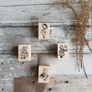 Krimgen Stamps – D4 Girl On Swan – #1 Boy Mushroom – #105 Birthday – Ballerina
