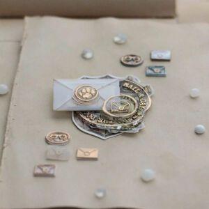 LCN Design – Mini Wax BRASS Stamp Set : Mail / Coffee / Footprint – Preorder